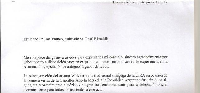 Carta del señor embajador de Alemania