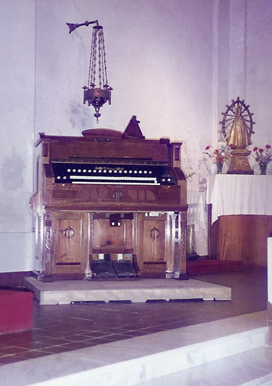 Restauración completa de armonio alemán de doble teclado, marca M. Hörügel, parroquia de la Ciudad de Monte, Buenos Aires